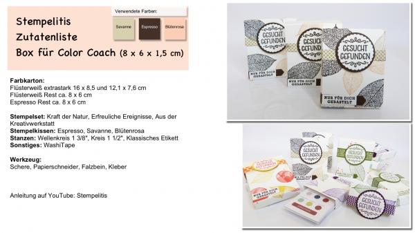 Zutatenliste für Color Coach Box von Stempelitis