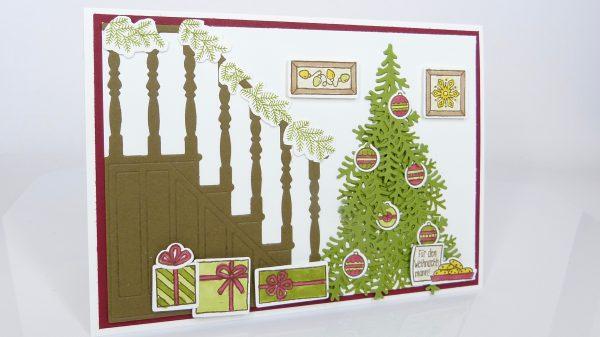 Weihnachtskarte Weihnachtstreppe Stempelitis
