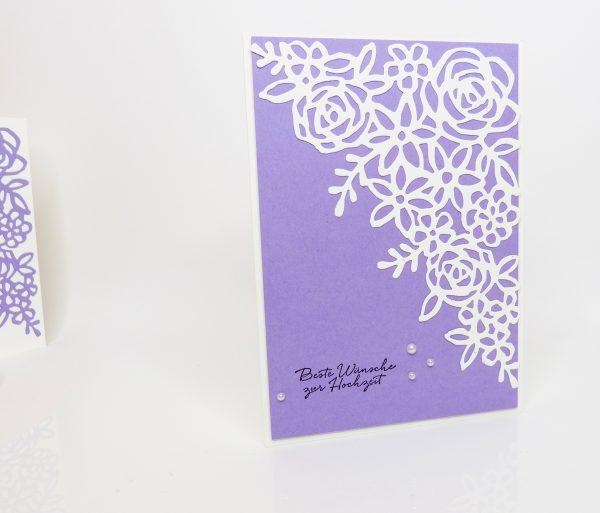 Hochzeitskarte mit Frühlingsimpressionen in der Farbe Amethyst