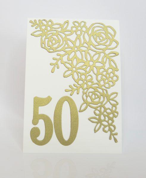 Goldene Hochzeit Karte mit Frühlingsimpressionen