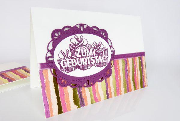 Bestickte Etiketten Geburtstagskarte von Stempelitis