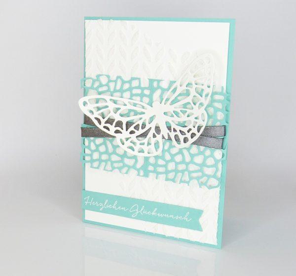 Schmetterlingskarte Jade und Anthrazit