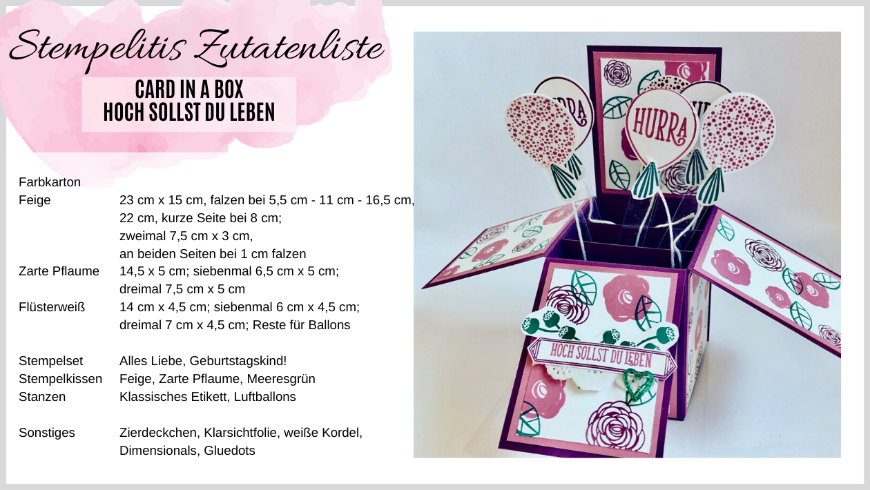 Zutatenliste Card in a Box