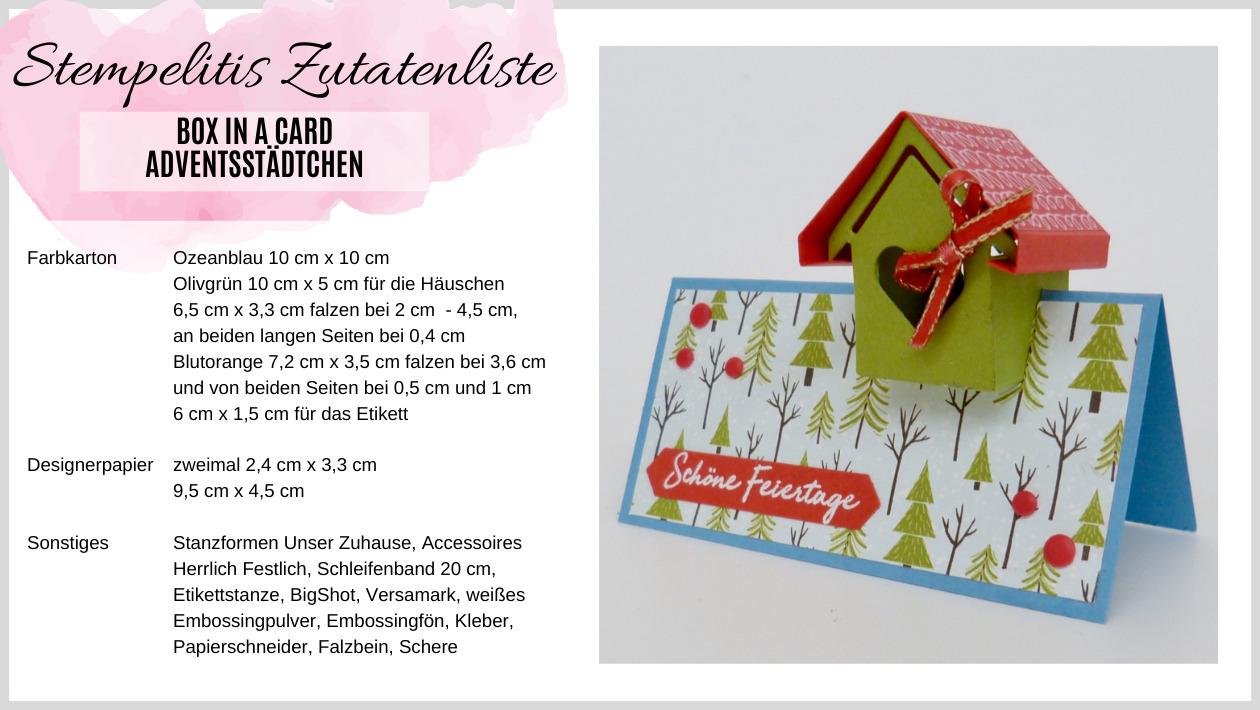 Zutatenliste Box in a Card