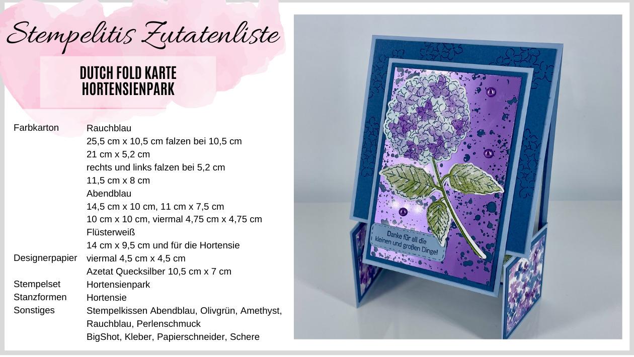 Dutch Fold Karte Zutatenliste